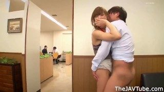 Japanese office lady Asuka Kirara blackmailed and fucked in the office